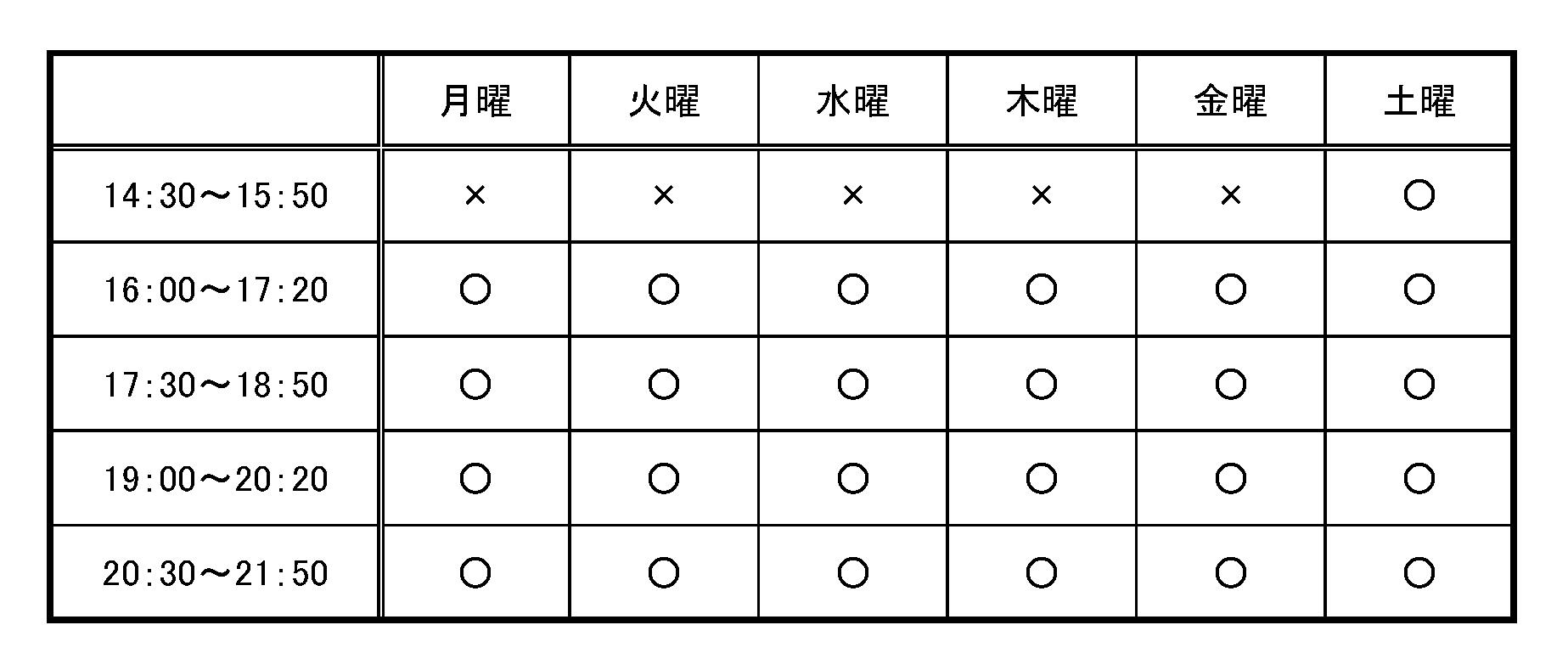 授業時間割表(追加分)